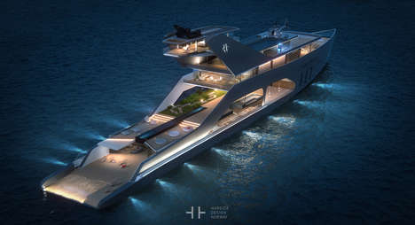 Open-Air Yacht Concepts - The '108M' Megayacht by Hareide Design Emphasizes Contact with Nature