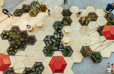 Hexagonal Urban Gardens - This City Garden is Interactive and Incorporates Different Designs