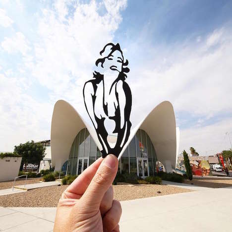 Silhouetted Landmark Cutouts - Rich McCor Adds Cardboard Shapes to Famous Areas to Create New Scenes