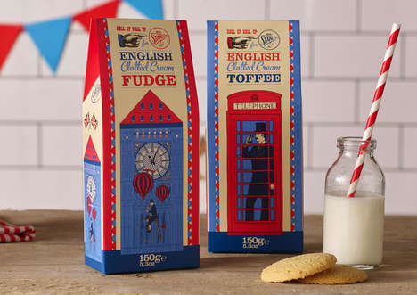 English Dessert Packaging - These Desserts are Adorned with Stereotypical British Illustrations