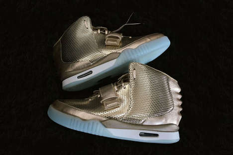 Gilded Rapper Sneakers - The Nike Air Yeezy 2 Shoes Are Decked Out in a Custom Gold Finish
