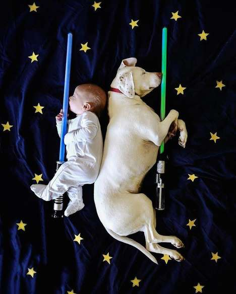Rescue Dog Photography - These Photos of a Puppy and Baby Sleeping Show the Soft Side of Rescues
