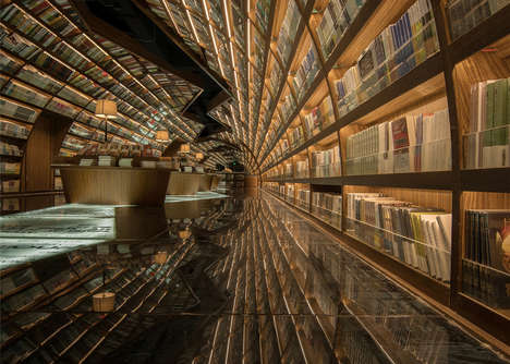 Mirrored Library Tunnels - This Chinese Bookstore Was Designed with a Focus on Symmetry