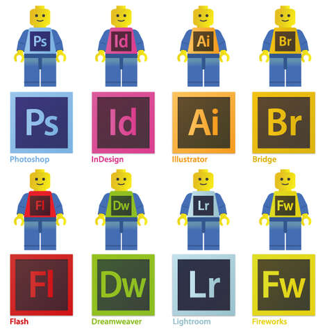 LEGO Program Icons - José María Muntané Reimaged Adobe Icons as LEGO Men and Bricks