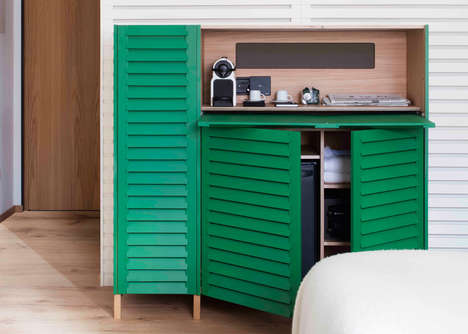 Multipurpose Hotel Furniture - These Cabinets Hide Bluetooth Speakers, a Mini Fridge and a Safe