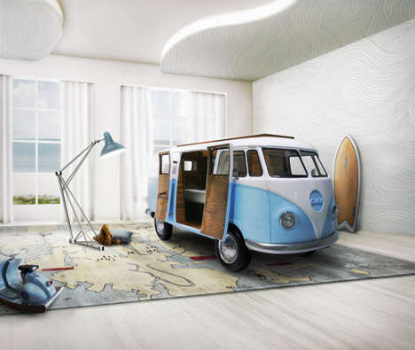 Camper-Shaped Beds - This Children's Bed is Hidden in a Replica of a VW Camper