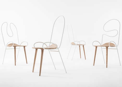 Swirling Steel Chairs - The 'Sylph' Chair's Back Looks Like an Absent-Minded Doodle