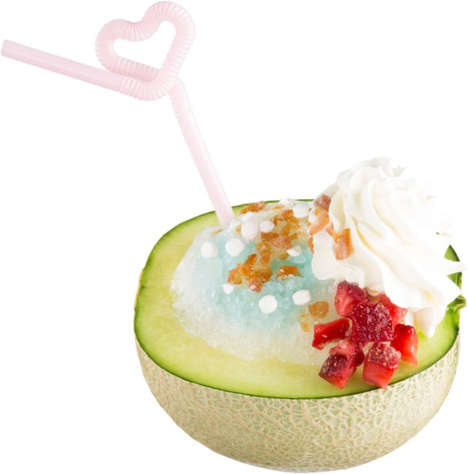 Melon Bowl Beverages - Sushi Chain Sushiro is Now Serving Floats in Halved Melon Bowls