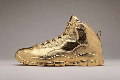 Solid Gold Sneakers - Drake Commissioned a Pair of OVO-Branded 24k Gold Air Jordans to be Designed