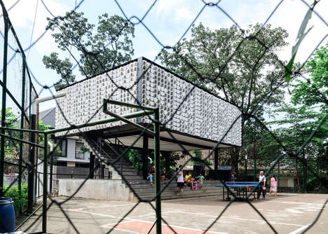 Affordable Upcycled Libraries - This Indonesian Library Uses Ice Cream Tubs to Form Its Walls