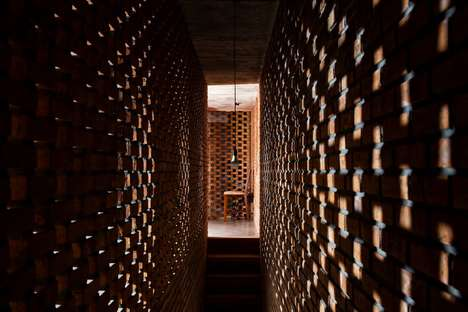 Perforated Brick Studios - The Tropical Space Cubic Pottery Studio's is Made Using Bamboo Shelves