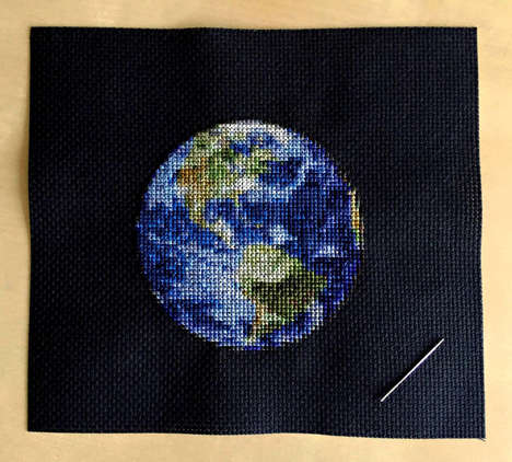 Embroidered Planetary Art - An Artist Creates Planet Art That Almost Resembles Photographs