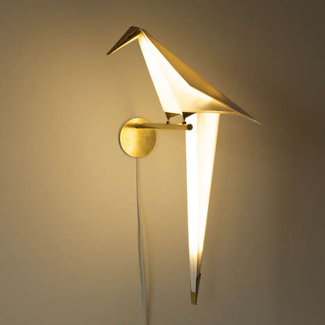 Avian Origami Lamps - The Perch Light by Umat Yamac Looks Like a Folded Paper Bird