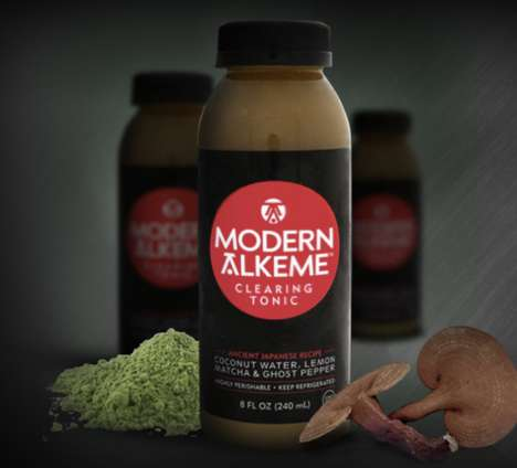 Piquant Detoxifying Drinks - Modern Alkeme's Tonic for Health Blends Lemon, Matcha and Ghost Pepper