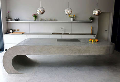 Cantilevered Concrete Kitchenettes - 'The Curved' Kitchen Island Features a Gravity-Defying Shape