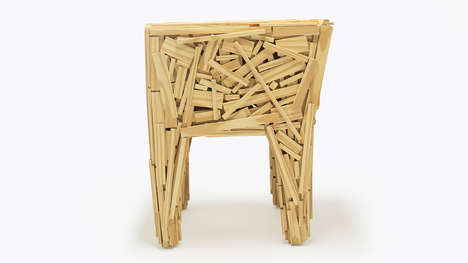Creatively Cobbled Chairs - The 'Favela Chair' is Constructed with Asymmetrical Slats of Wood
