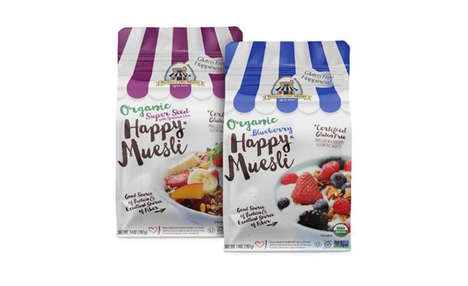 Organic Muesli Packets - The New Organic Happy Muesli Snacks Provide a Healthy Cereal Alternative