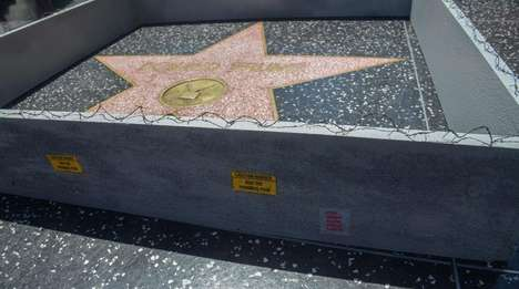 Satirical Art Installations - A Mini Border Wall Was Erected Around Trump's Walk of Fame Star