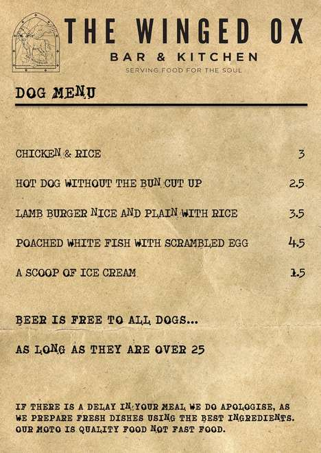 Boozy Canine-Friendly Menus - Scotland's Winged Ox Serves Up Dog-Friendly Beer