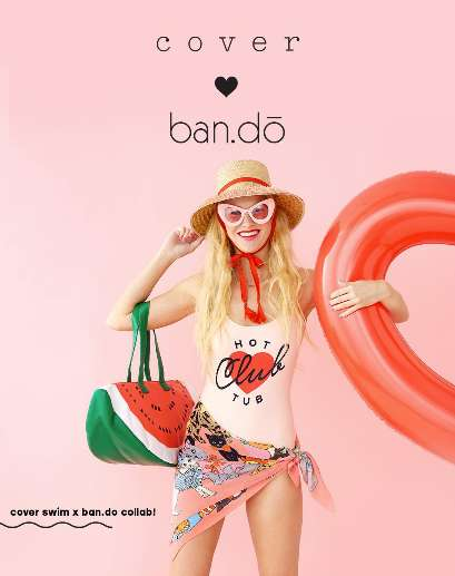 Ultra-Feminine Swimwear Collections - The Ban.do x Cover Collaboration Features Pastel Pink Pieces