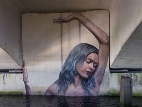 Interactive Feminine Murals - Sean Yoro Has Expanded His Stunning Series of Water Murals