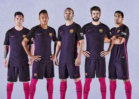 Snazzy Soccer Apparel - The New Barcelona Away Kit Features Flashy Shades Of Purple and Pink