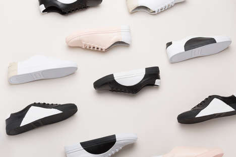 Simplistic Bauhaus Sneakers - The THEY Unisex Shoes Opt for Geometric Shapes and Subtle Pastel Hues