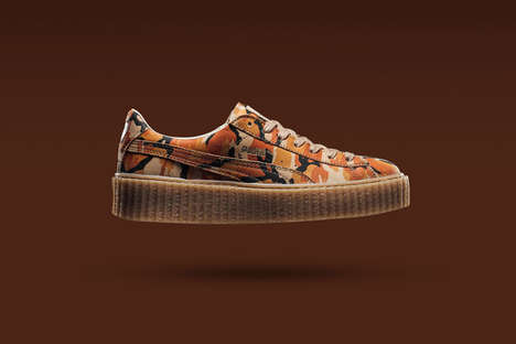 Platform Camouflage Sneakers - The PUMA x Rihanna Fenty Was Updated with a Patterned Orange Colorway
