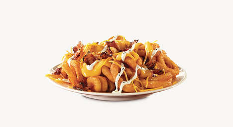 Cheese-Topped Curly Fries - Arby's Loaded Curly Fries are Sprinkled with Savory Toppings