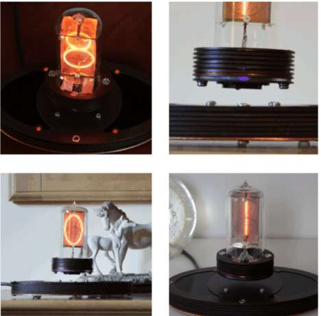 Magnetically Levitating Lamps - The Levitating Nixie Clock Makes Use Of Rare Earth Magnets