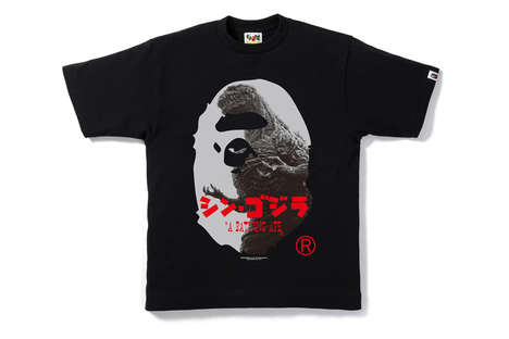 Iconic Monster T-Shirts - This BAPE T-Shirt Features the Brand's Logo Imposed with Godzilla