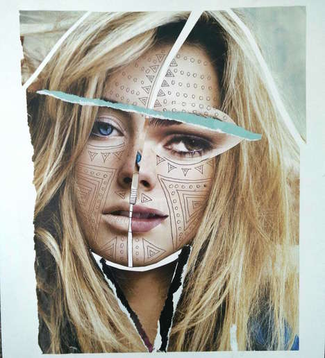 Mixed Media Photomontages - These Portraits by Veerle Symoens are Compiled from Magazine Clippings