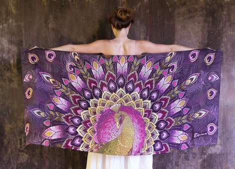 Intricate Winged Scarves - These Artistic Scarves Unravel to Reveal Large Winged Designs