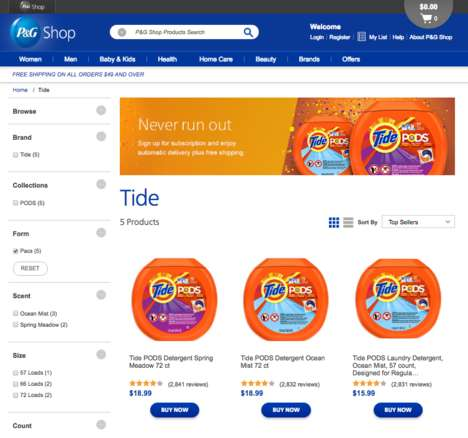 Laundry Pod Subscriptions - The P&G Shop Now Features an Option for Tide Pod Subscriptions