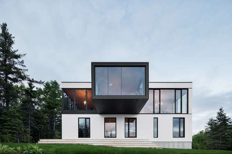 Cantilevered Glass Abodes - This Montreal Home by ACDF Architecture Features a Boxed Living Rroom
