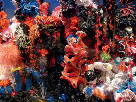 Crocheted Coral Sculptures - This Intricate Coral Museum Display Looks Like a Real Coral Reef