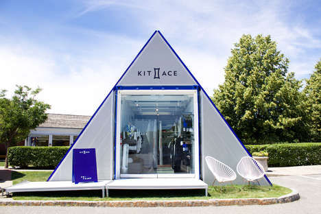 Patriotic Mobile Showrooms - Kit and Ace's Shipping Container Pop-Up Turned into an 'Eh Frame'