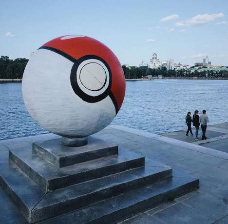 Anime-Transformed Monuments - A Spherical Statue in Russia Was Painted to Look Like a Huge Poké Ball