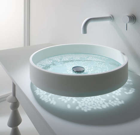 Reflective Bathroom Sinks - This Floating Sink Reflects Patterns onto Its Surroundings