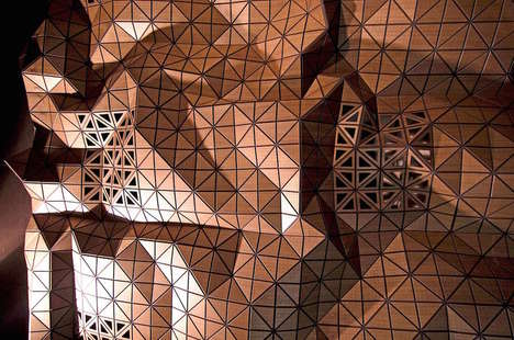Geometrical Origami Decor - 'Wood-Skin' can Fold into Limitless 3D Tiling Designs