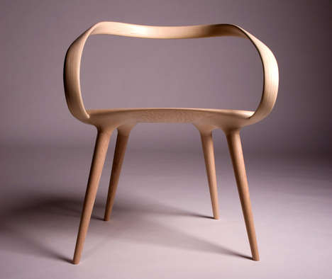 Deconstructed Backless Chairs - This Chair Appears to Be Made Up of a Single Piece of Wood