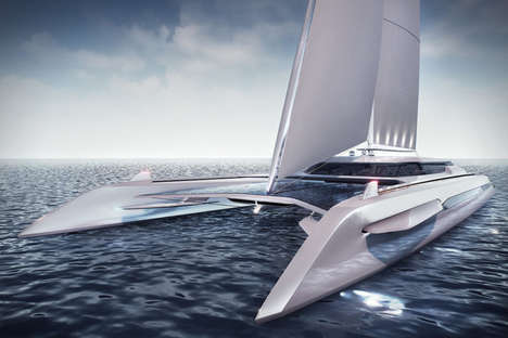 Eco-Friendly Catamaran Yachts - Rene Gabrielli's Boat Concept Is Powered by Natural Energy Sources