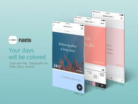 Colorful Diary Apps - Typography App Paletto Lets You Keep an Artistic Journal On Your Phone