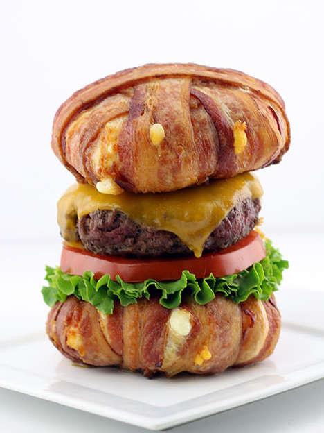 Bacon-Wrapped Cheese Buns - This Cheeseburger Features Buns Made Out of Deep Fried Cheese Curds