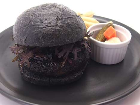 Gremlin-Themed Gothic Burgers - This All Black Burger is Entirely Blackened Unlike Previous Attempts