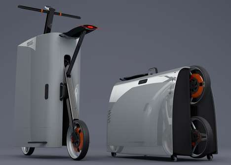 Motorized Scooter Suitcases - The Proposed Audi eSuitcase Folds Out to Become a Two-Wheeled Ride