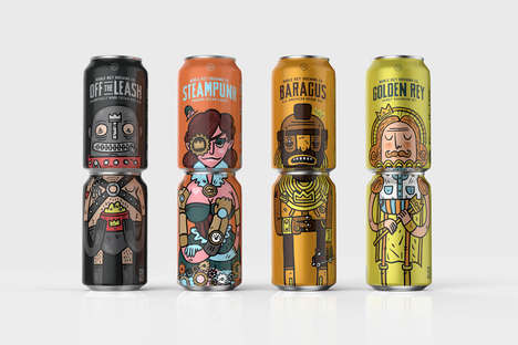 Stackable Character Cans - Noble Rey Brewery's Canned Drinks Feature Quirky Figures