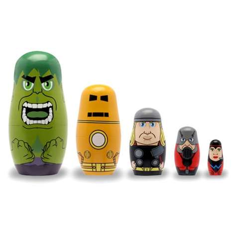 Superhero Nesting Dolls - The Avenger Characters are Depicted Here as Stackable Wooden Toys