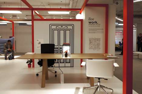 Ergonomic Trestle Tables - This Desk by Viccarbe Offers a Large Communal Workspace for Offices