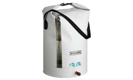 Roll-Top Water Reservoirs - This Portable Water Tank for Campers Assumes an Inverse Design